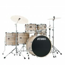Tama Imperialstar 6-piece complete kit with 22 bass drum - Natural Zebrawood Wrap