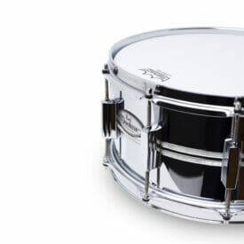 Pearl DuoLuxe Chrome-over-Brass 14x6.5 Snare Drum with twin Nicotine White Marine Pearl Inlays4