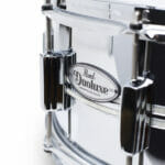 Pearl DuoLuxe Chrome-over-Brass 14×6.5 Snare Drum with twin Nicotine White Marine Pearl Inlays2