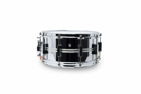 Pearl DuoLuxe Chrome-over-Brass 14x6.5 Snare Drum with twin Nicotine White Marine Pearl Inlays
