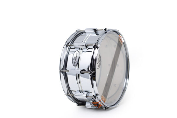 Pearl DuoLuxe Chrome-over-Brass 14x6.5 Snare Drum with twin Nicotine White Marine Pearl Inlays6