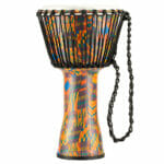 Meinl Percussion 10″ Rope Tuned Travel Series Djembes, Synthetic Head (Patented), Kenyan Quilt