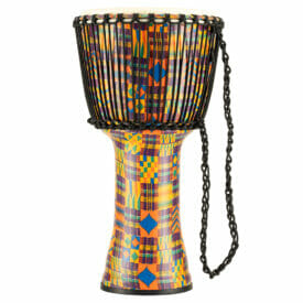 """Meinl Percussion 12"""" Rope Tuned Travel Series Djembes, Goat Skin Head (Patented), Kenyan Quilt"""