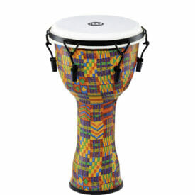 """Meinl Percussion 10"""" Mechanical Tuned Travel Series Djembe, Synthetic Head (Patented), Kenyan Quilt"""