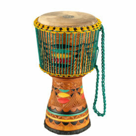 """Meinl Percussion 12"""" Artisan Edition Tongo Carved Djembe, Coloured Carving"""