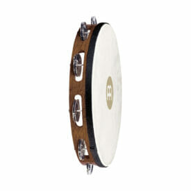 "Meinl Percussion 10"" Traditional Goatskin Wood Tambourine, Single Row, Nickel Plated Steel Jingles"