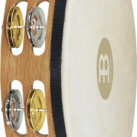 "Meinl Percussion 10"" Recording-Combo Goatskin Wood Tambourine, Dual Row, Mixed Jingles"
