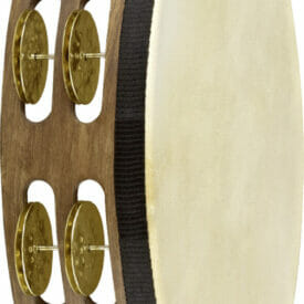 "Meinl Percussion 10"" Vintage Goatskin Wood Tambourine, Dual Row, Hammered Brass Jingles"